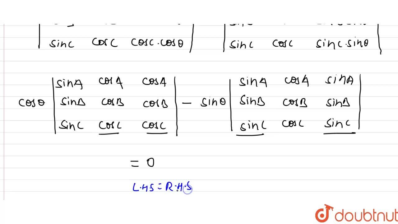 Solution for सिद्ध करे कि    {:(sin A ,cos A , cos (A+theta ))