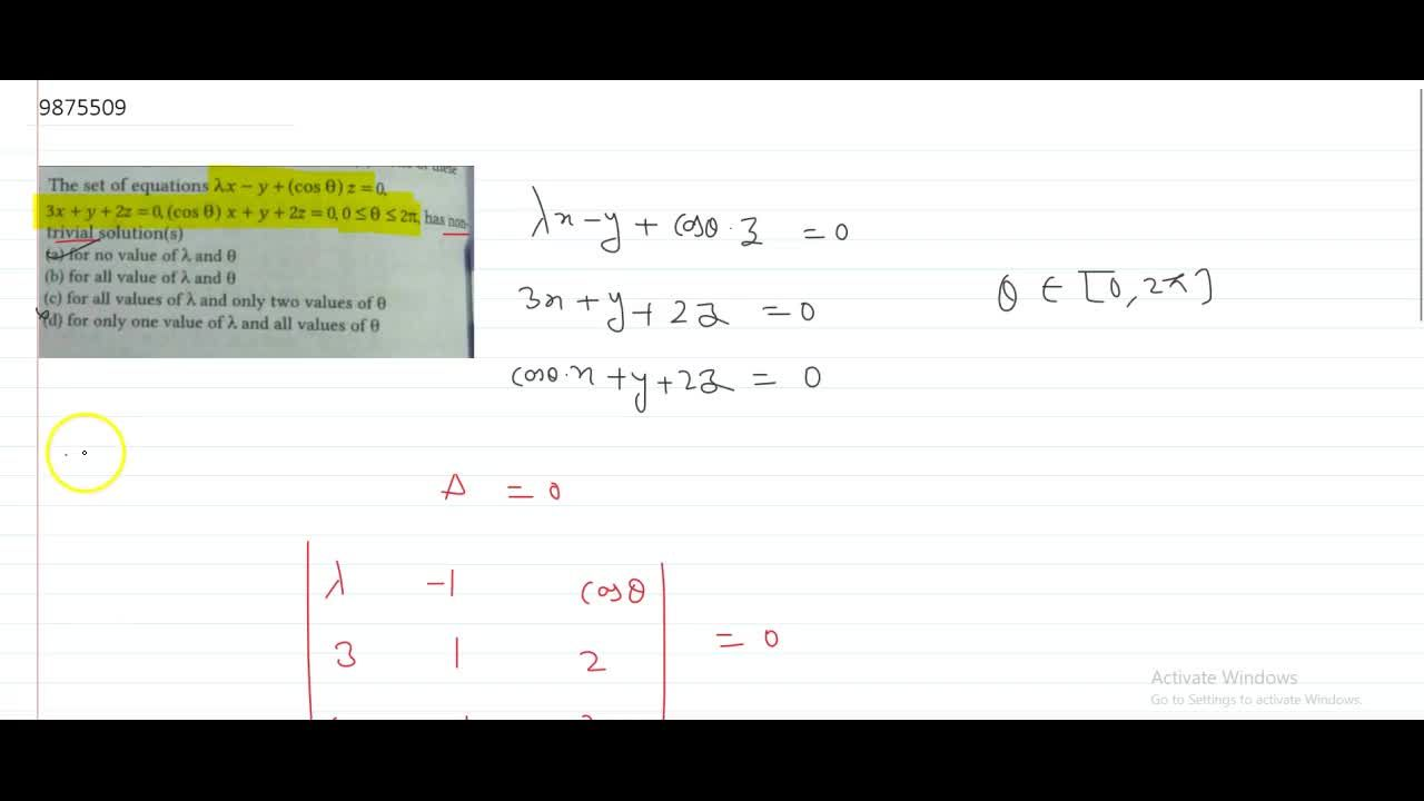 Solution for The set of equations lambda x - y +(cos theta) z=