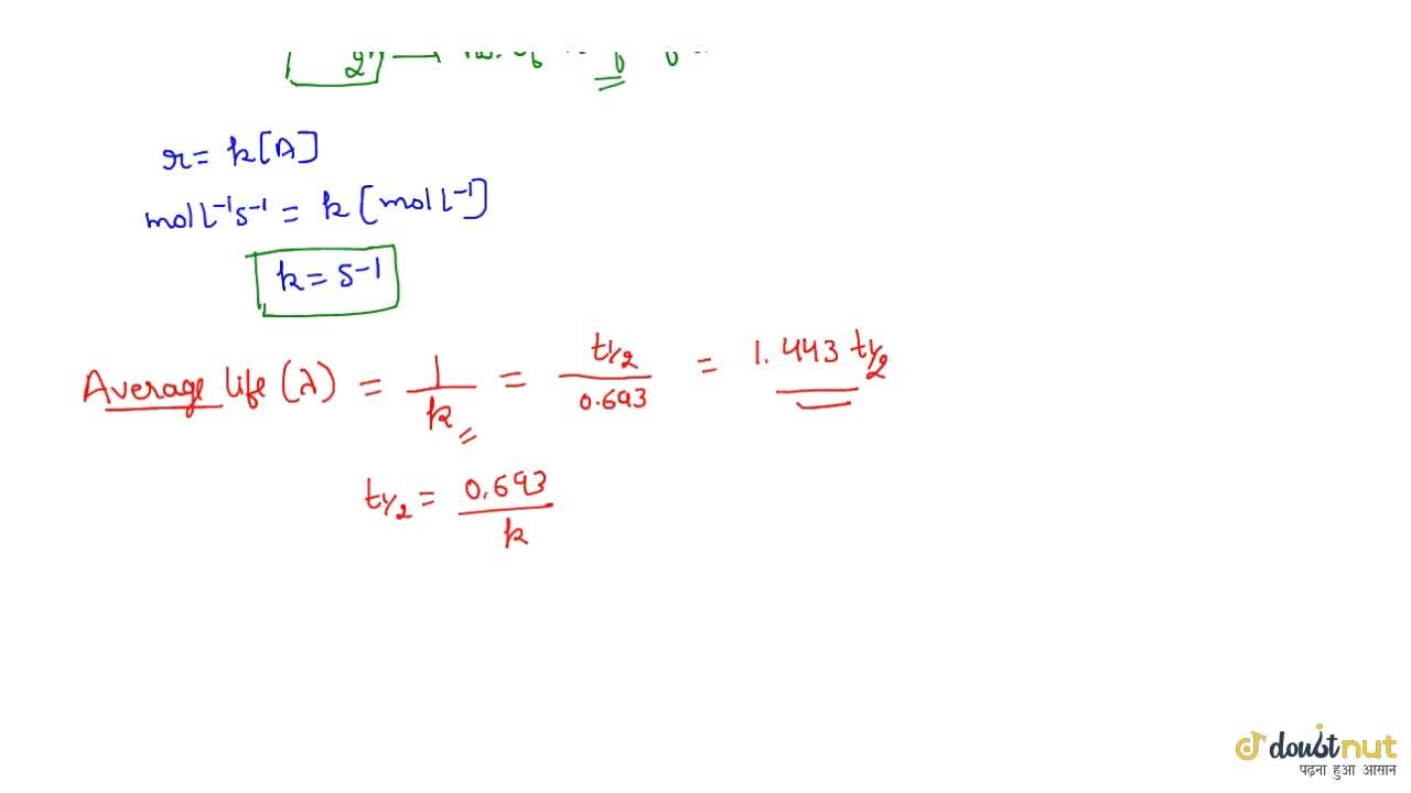 Solution for Characteristics Of A First Order Reaction