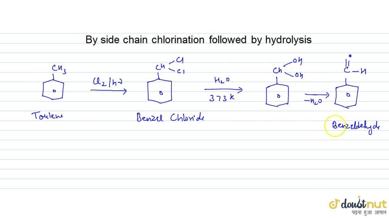 Solution for By Side Chain Chlorination Followed By Hydrolysis