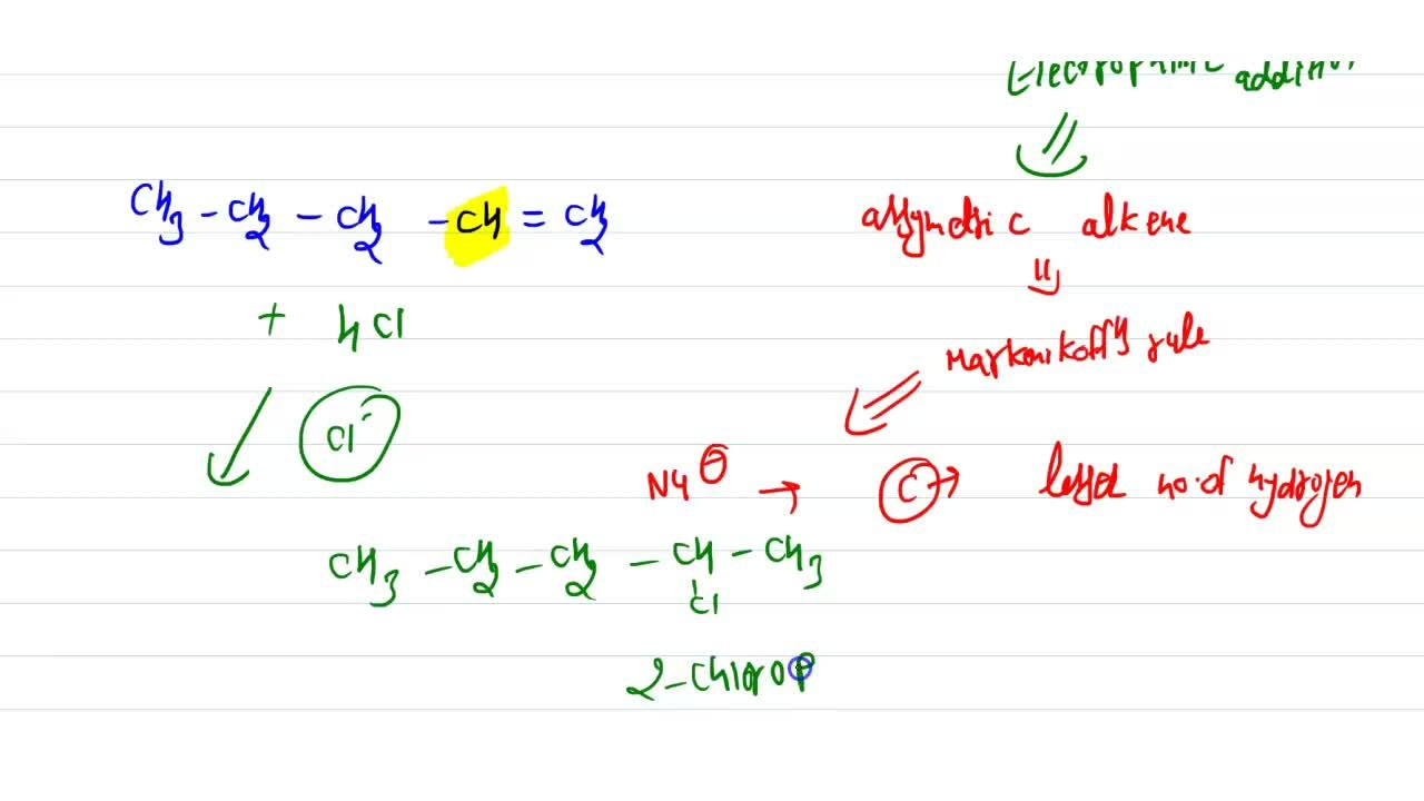 Solution for Pentene-1 with HCl gives