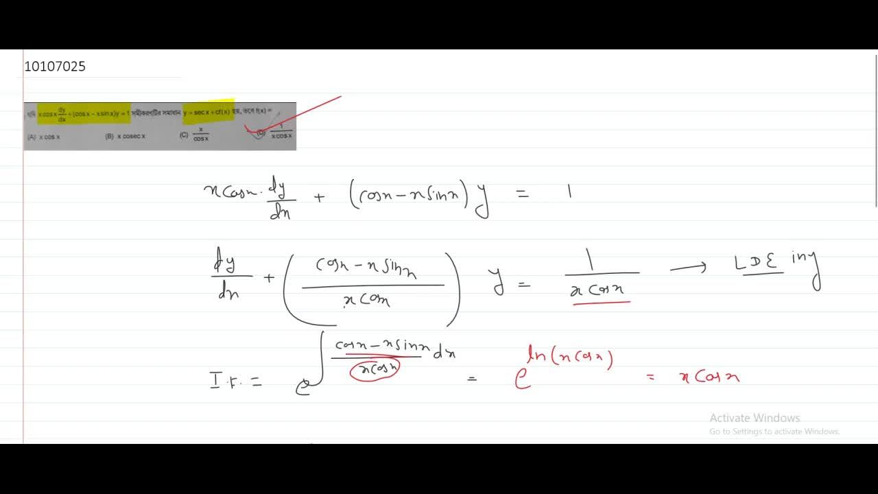 Solution for If x cosx dy,dx+(cosx-x sinx)y=1 the solution is