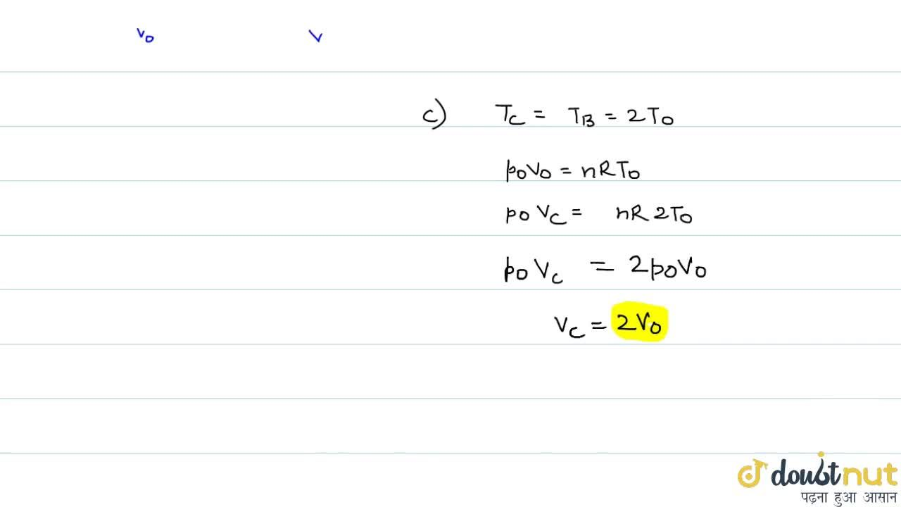 An ideal gas has pressure p_(0), volumn V_(0) and temperature T_(0). It is taken an isochoric process till its pressure is doubled. It is now isothermally expanded to get the original pressure. Finally , the gas is isobarically compressed  to its original volume V_(0). (a) Show the process on a p-V diagram. (b) What is the tempertaure in the isothermal part of the process? (c) What is the volumn at the end of the isothermal part of the process?