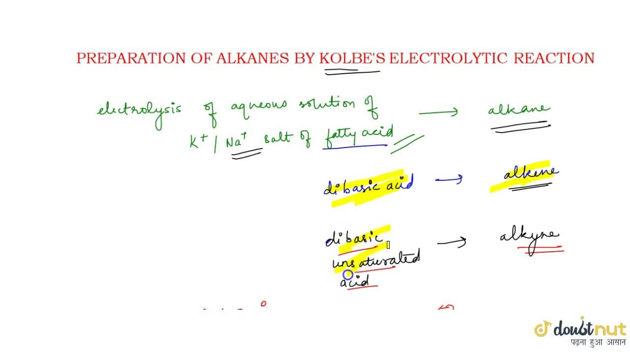 Solution for KOLBE'S ELECTROLYTIC REACTION