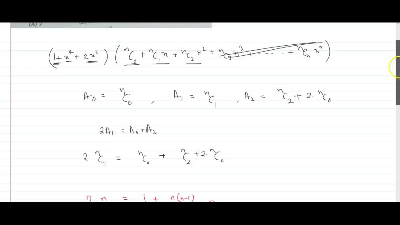 Solution for Let (1+x^2)^2 (1+x)^n= A_0 +A_1 x+A_2 x^2 + .....