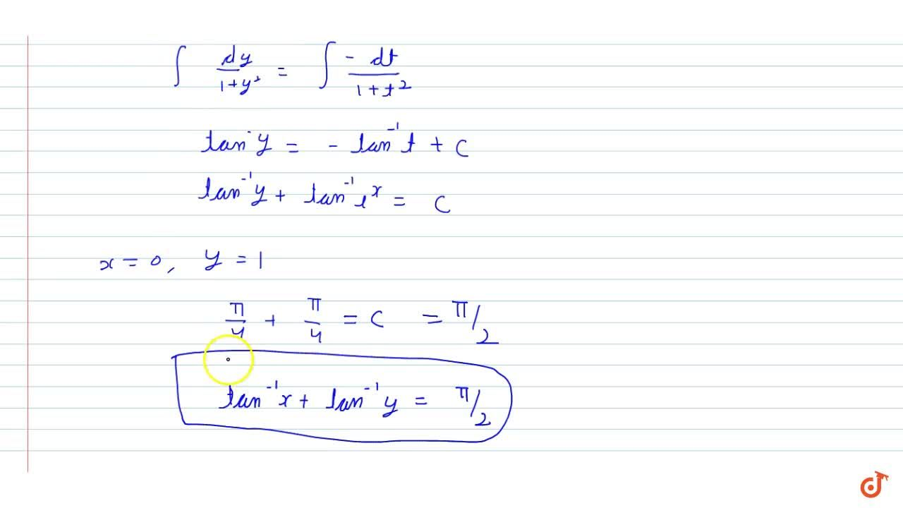 Find the particular solution of the differential  equation (1 + e^(2x)) dy + (1 + y^2) e^x dx = 0, given that y = 1 w h e n x = 0.