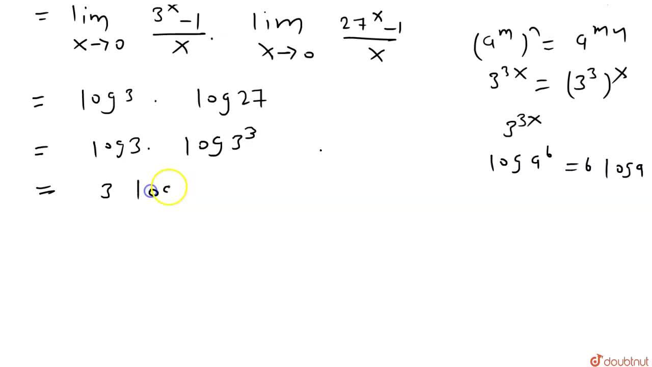 Solution for lim_(x to 0)(3^(4x)-3^(3x) - 3^x +1),x^2 का मान