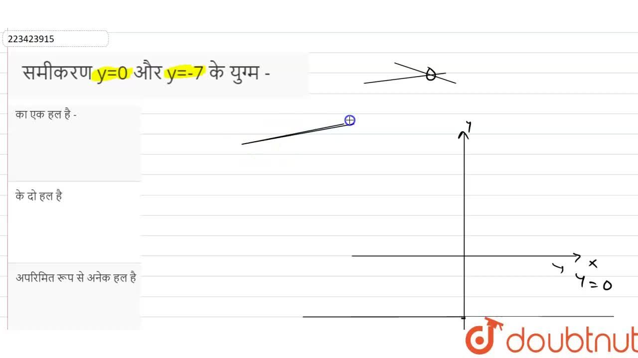Solution for समीकरण y=0   और y=-7    के युग्म -