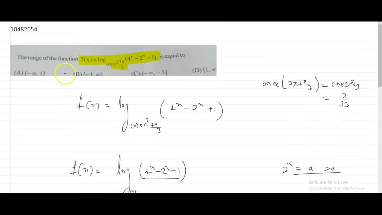Solution for The range of the function f(x) = log_(cosec^2 (7p