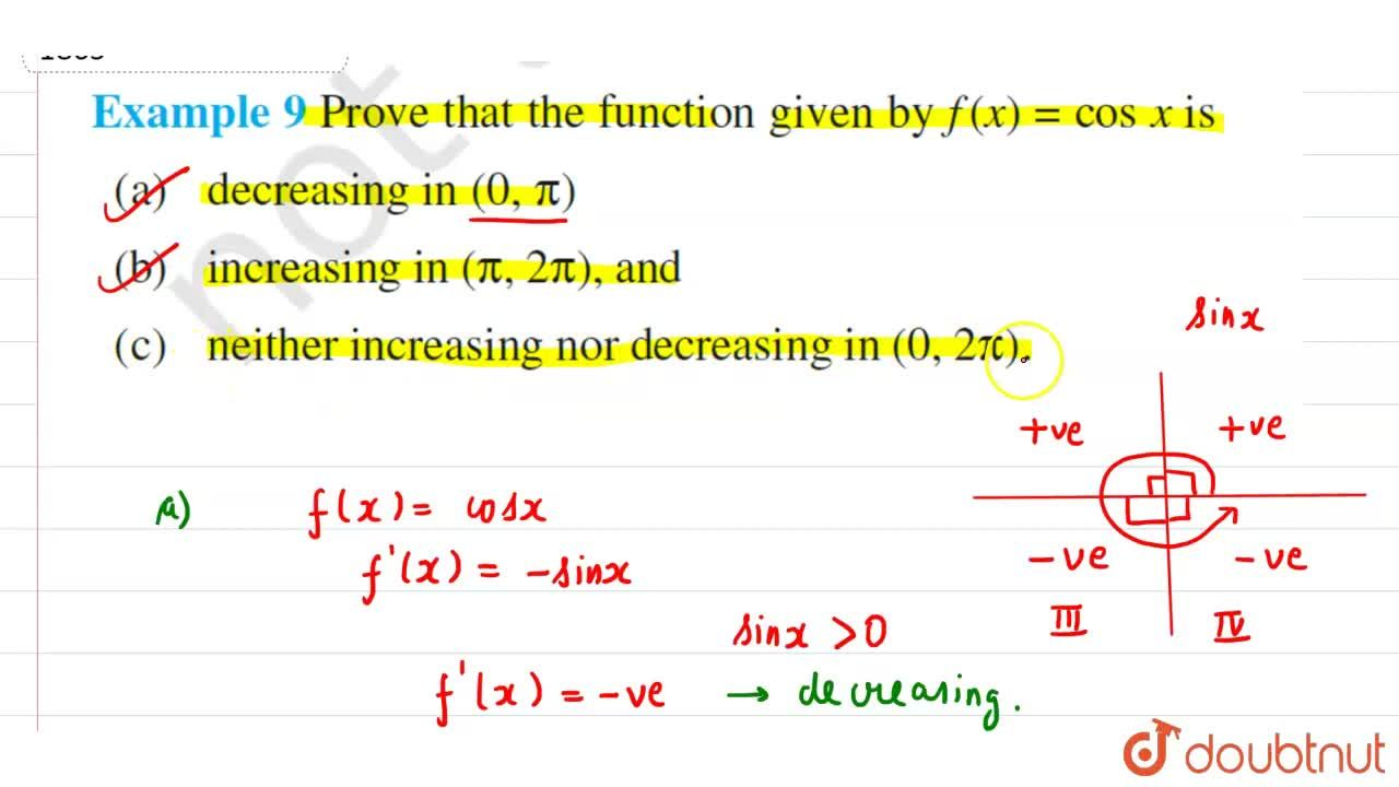 Solution for Prove that the function given by f(x) = cos xis(