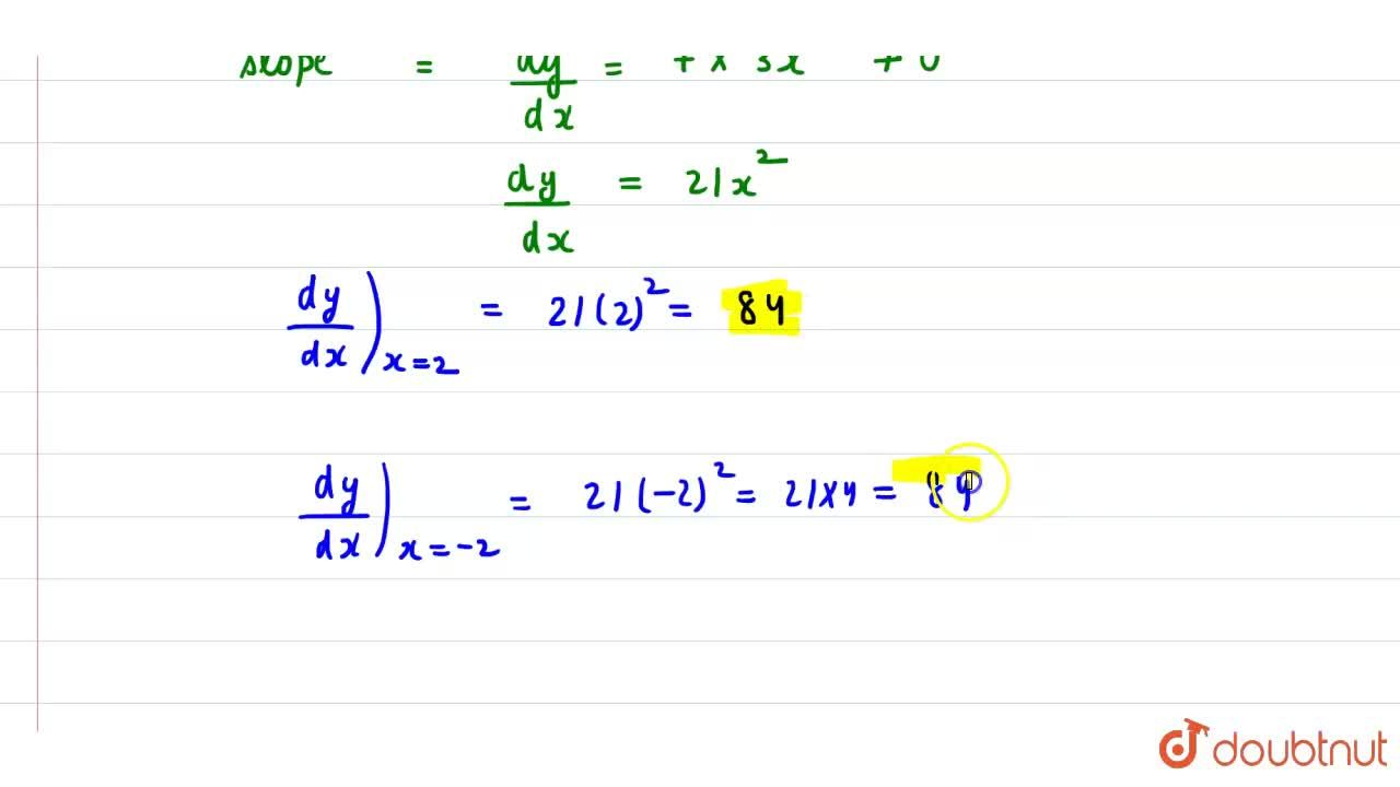 Solution for Show that the tangents to the curve y=7x^3+11 at