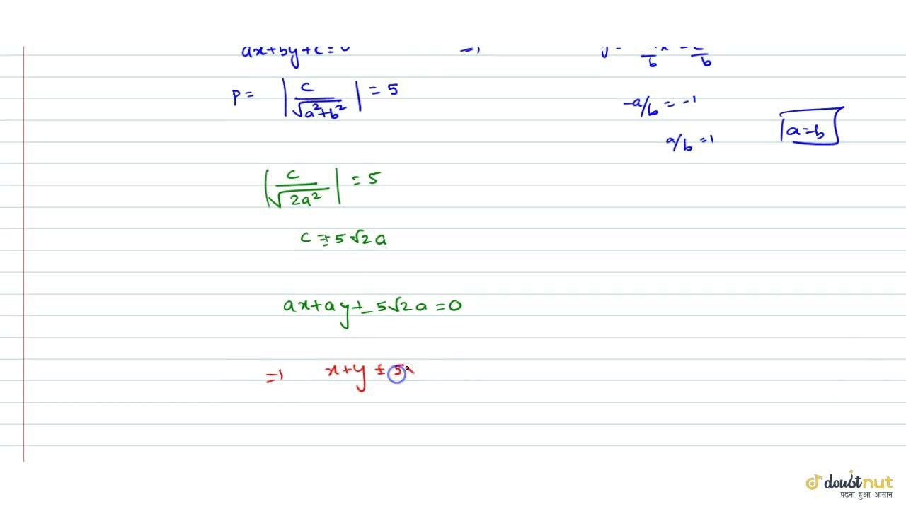 Solution for Find the equation of the line upon which the lengt