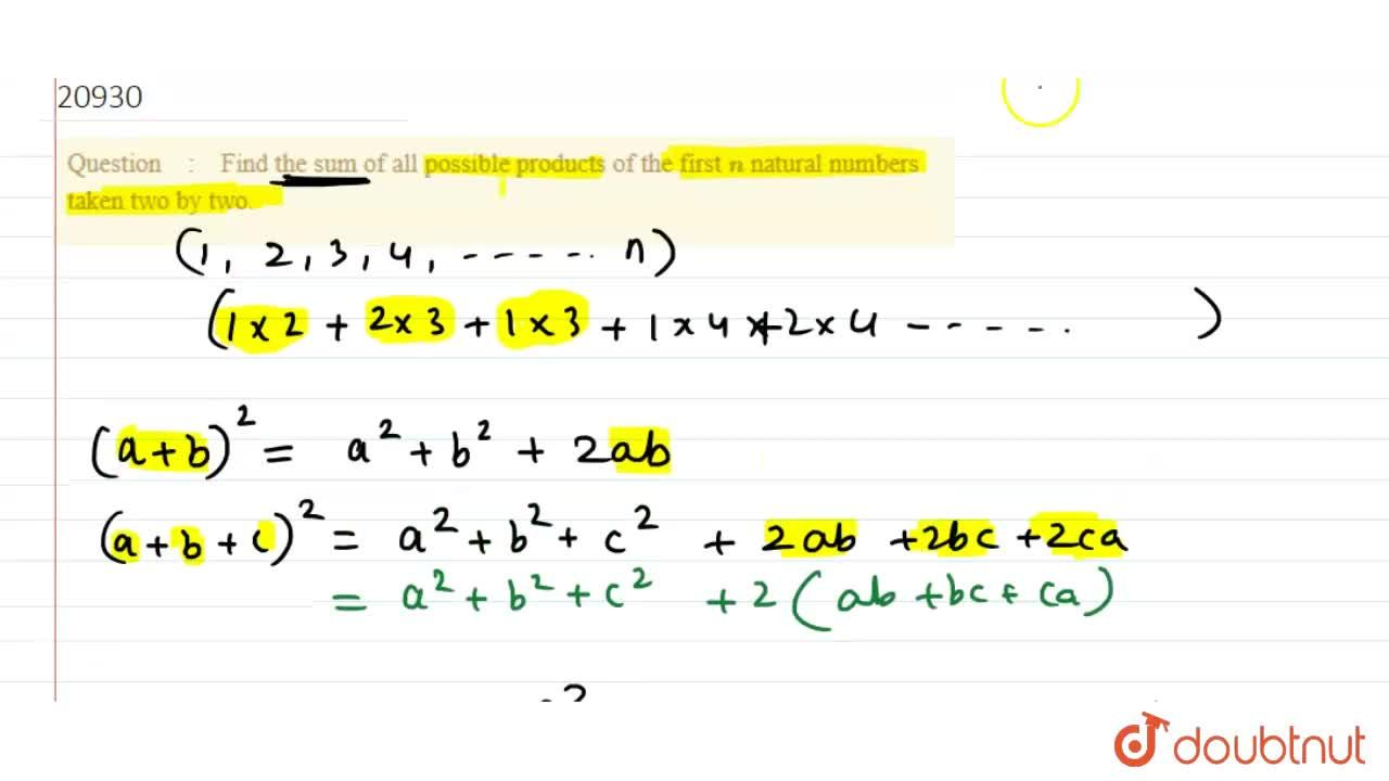 Find the sum of all possible products of the first n natural numbers taken two by two.