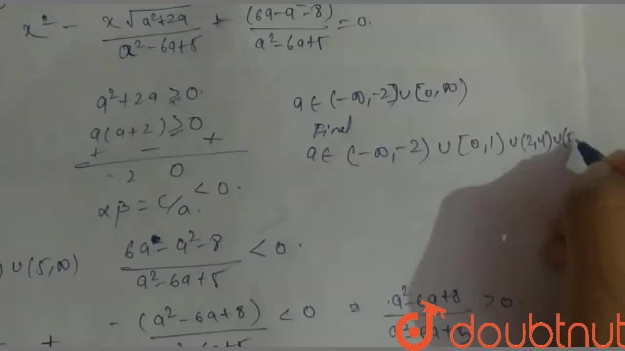Find the complete set of real values of a for which both roots of the quadratic equation (a^(2)-6a+5)x^(2)-sqrt(a^(2)+2a)x+(6a-a^(2)-8)=0 lie on either side of the origin.