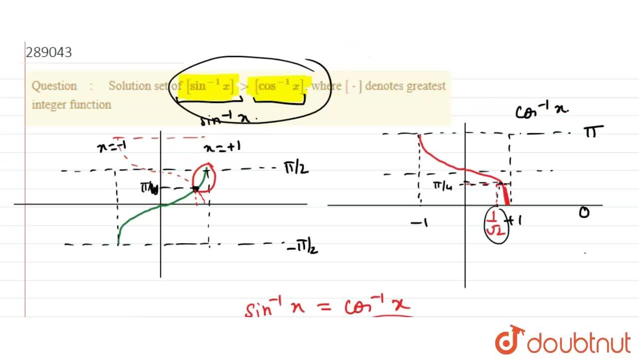 Solution for  Solution set of  [sin^-1 x]gt [cos^-1 x]. where