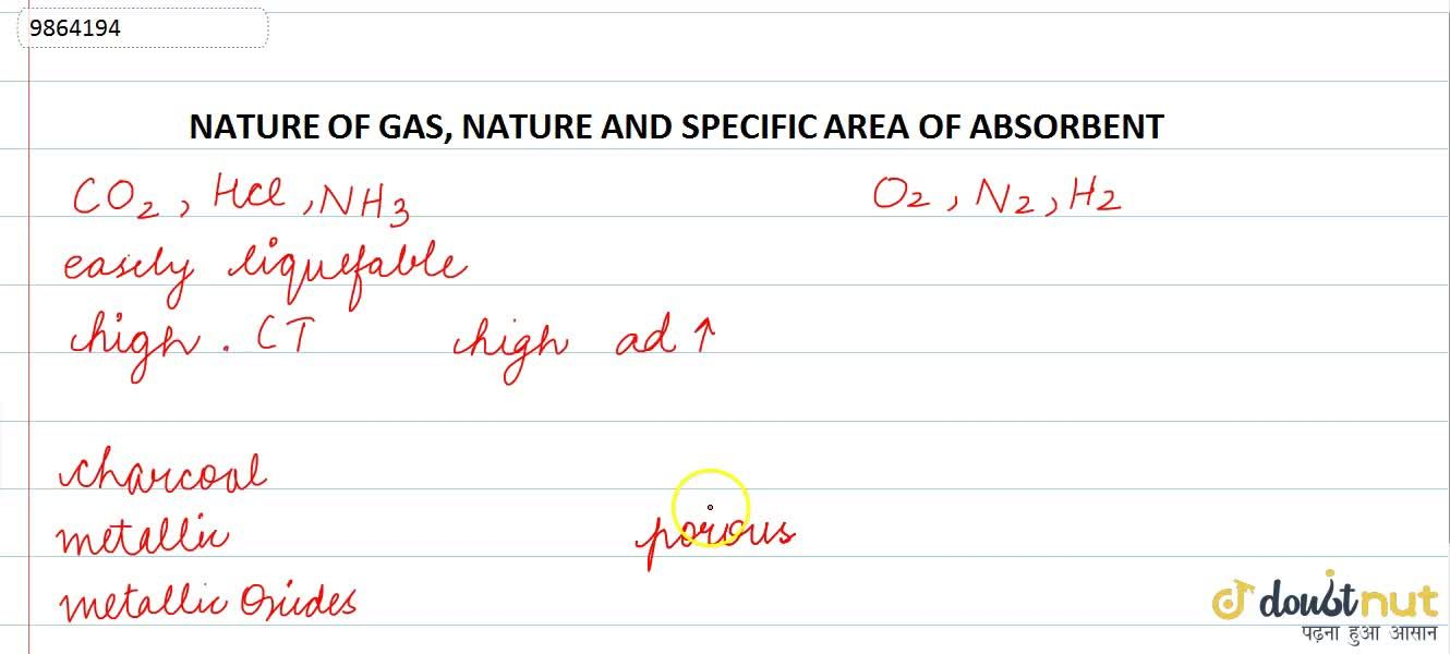 Solution for NATURE OF GAS, NATURE AND SPECIFIC AREA OF ABSORBE