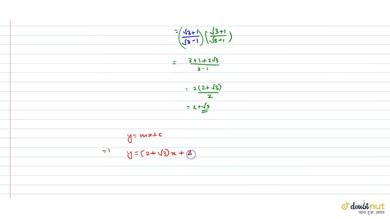 Solution for Find the equation of the line which makes an angle