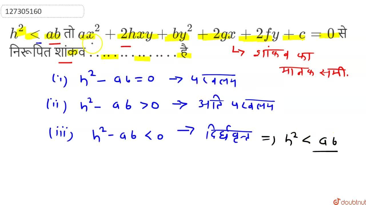 Solution for h^(2) lt ab  तो  ax^(2)+2hxy +by^(2)+ 2gx +2fy