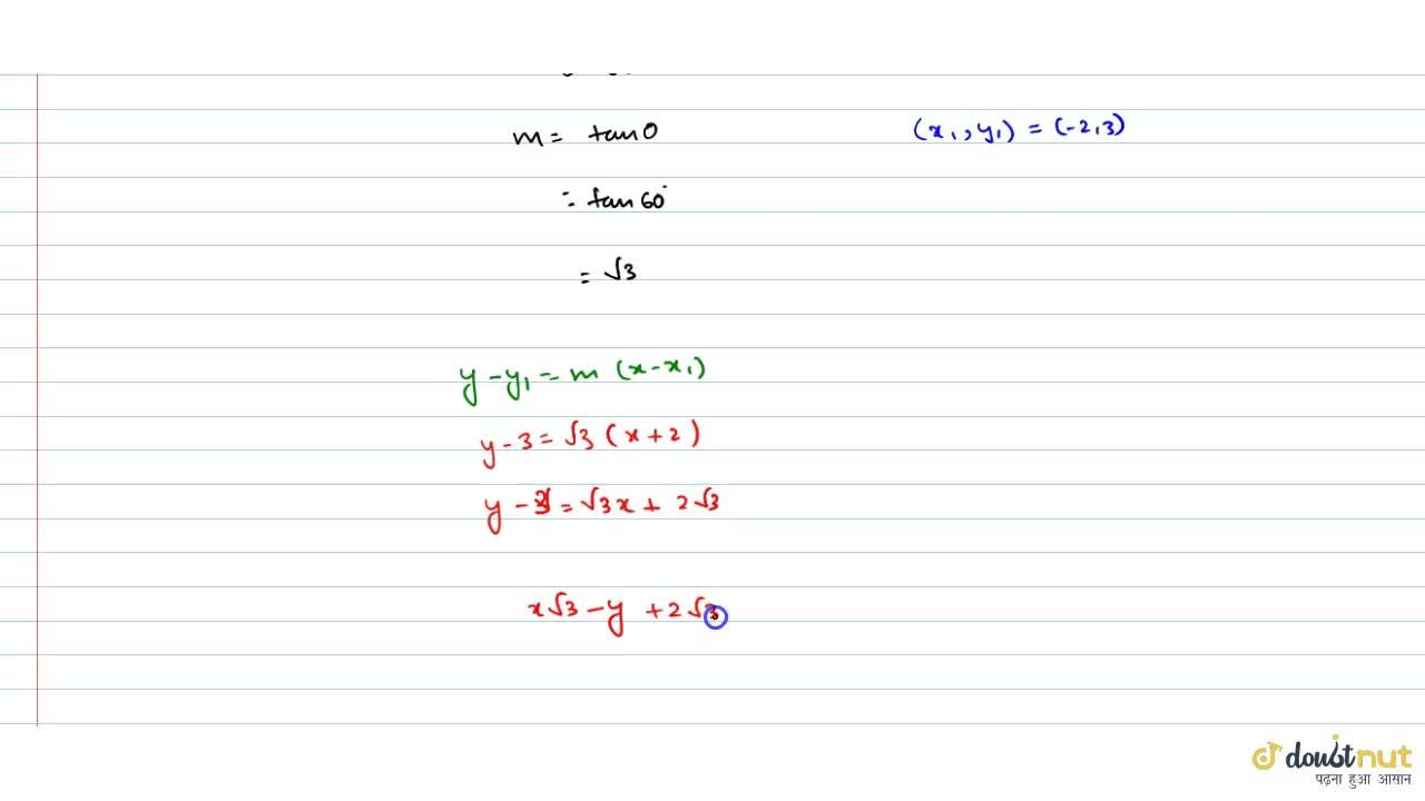 Solution for Find the eqution of a line which passes through th