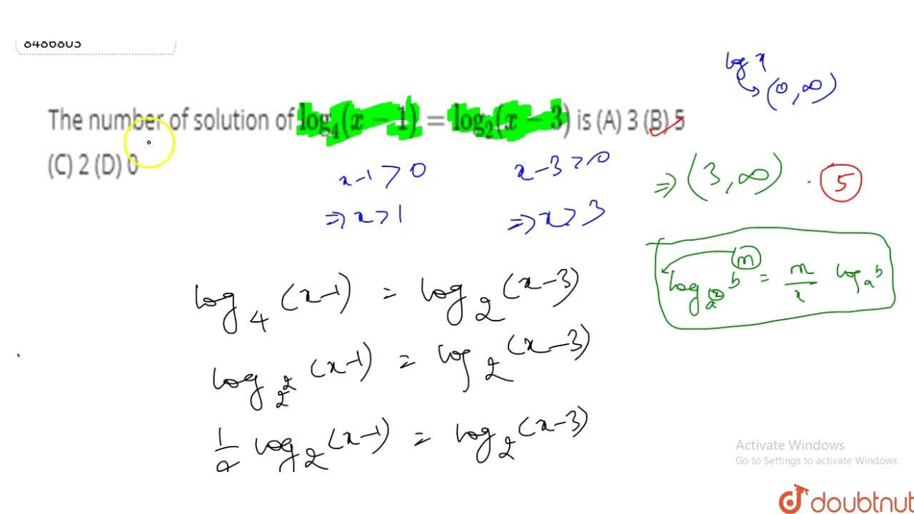 Solution for The number of solution of log_4(x-1)=log_2(x-3)