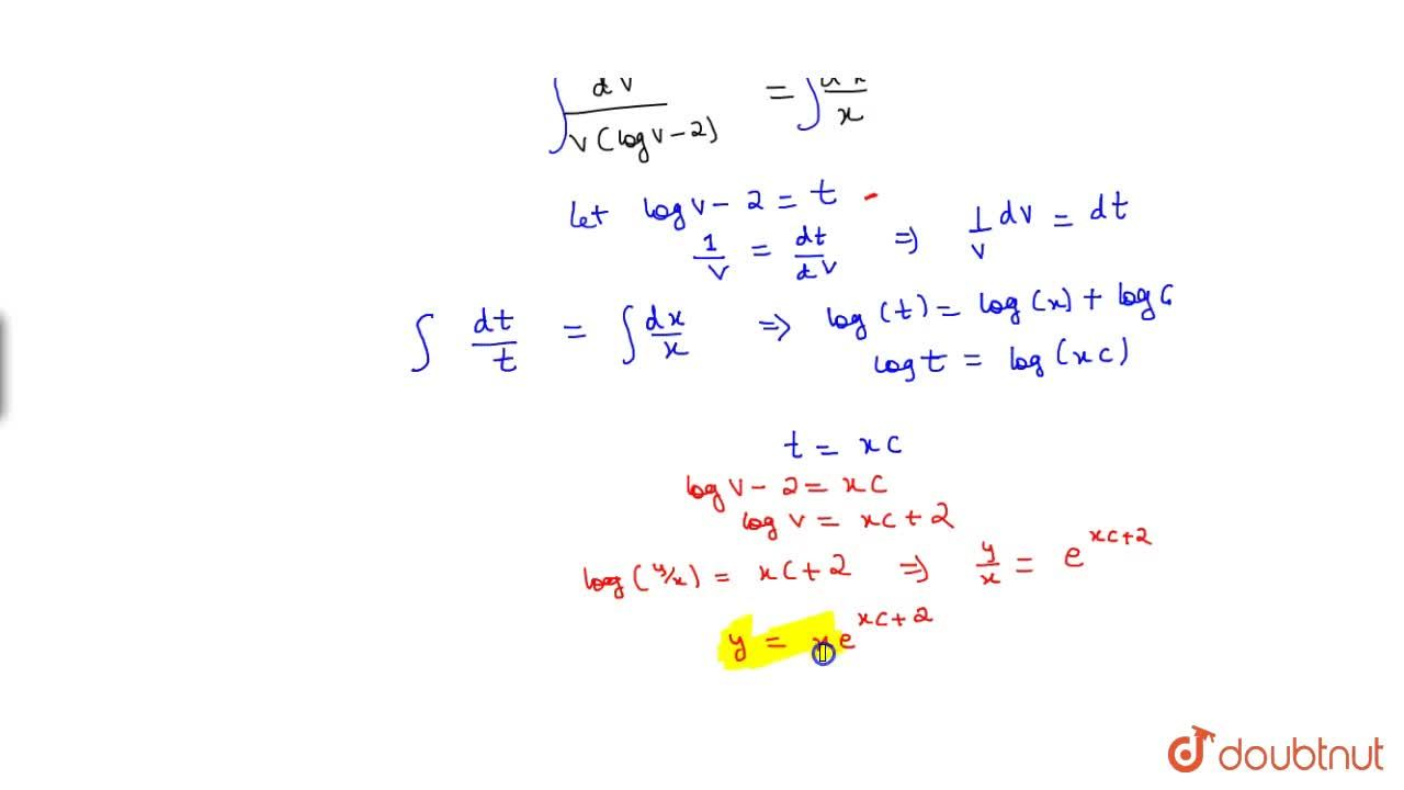 Solution for Solve: x(dy),(dx)=y(logy-logx-1)