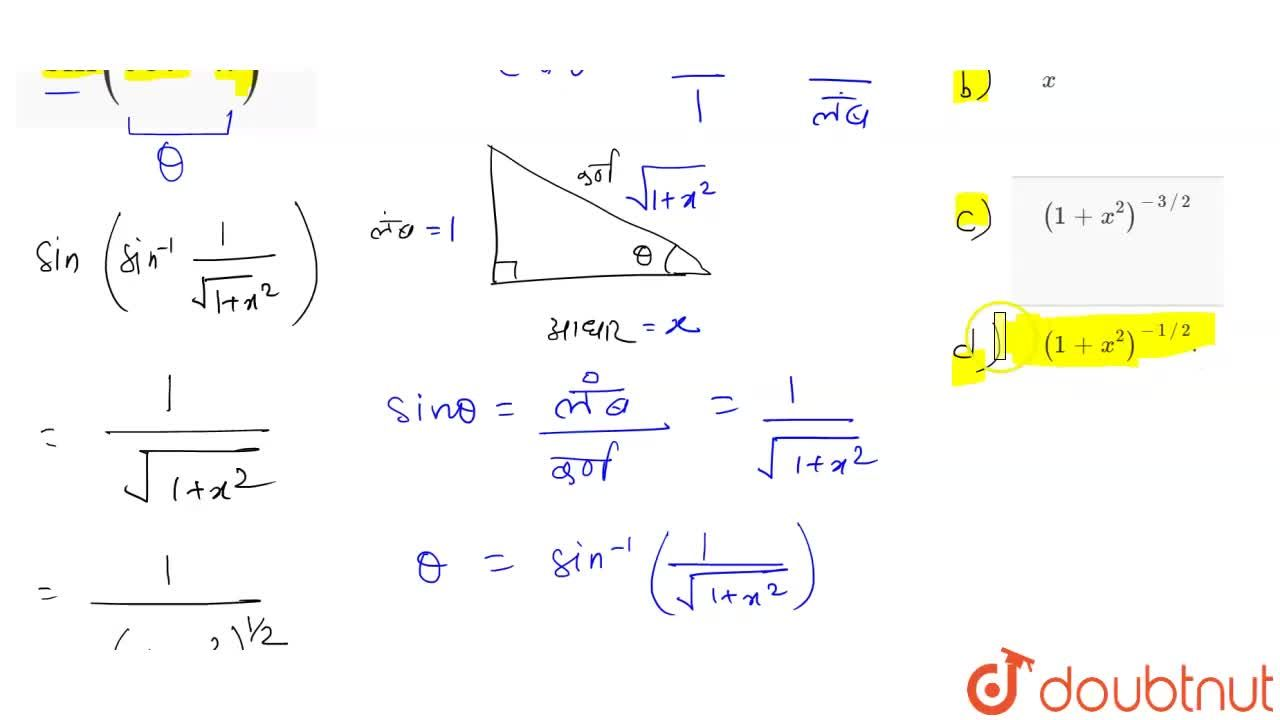 Solution for सरल कीजिए <BR> sin(cot^(-1)x)