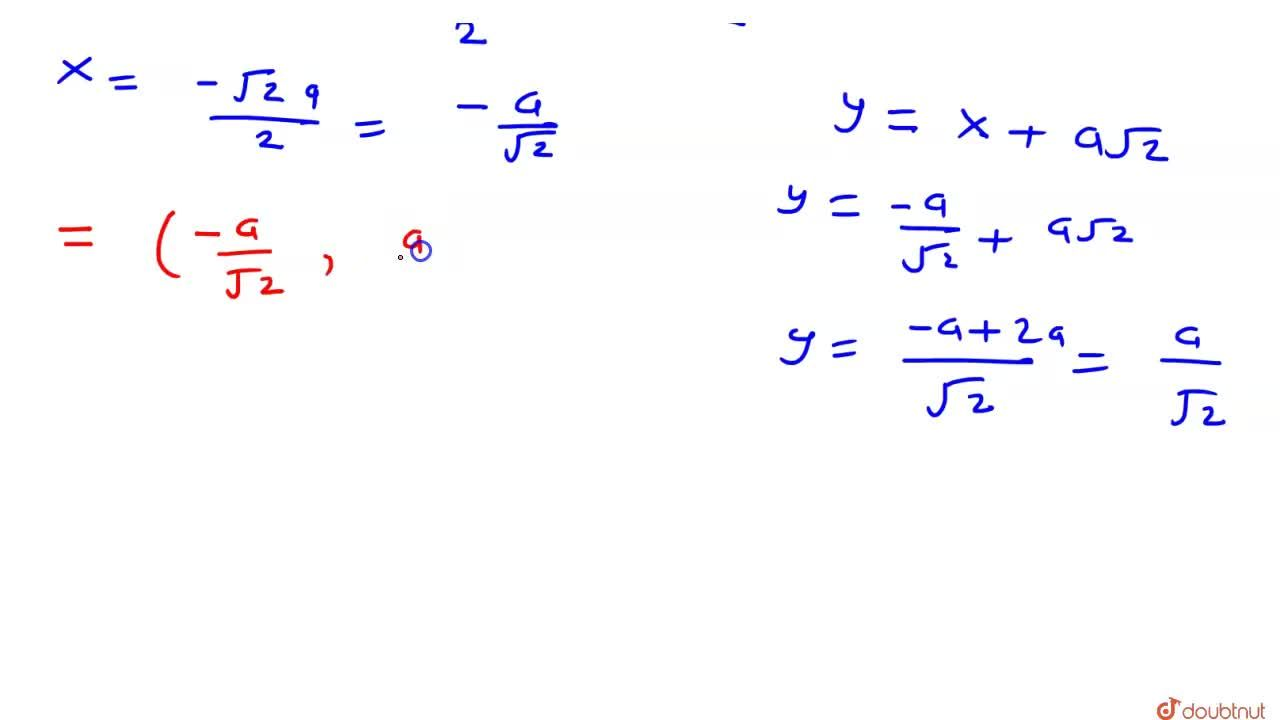 Solution for रेखा  y=x+asqrt(2)  वृत्त को x^(2)+y^(2)=a^(2)