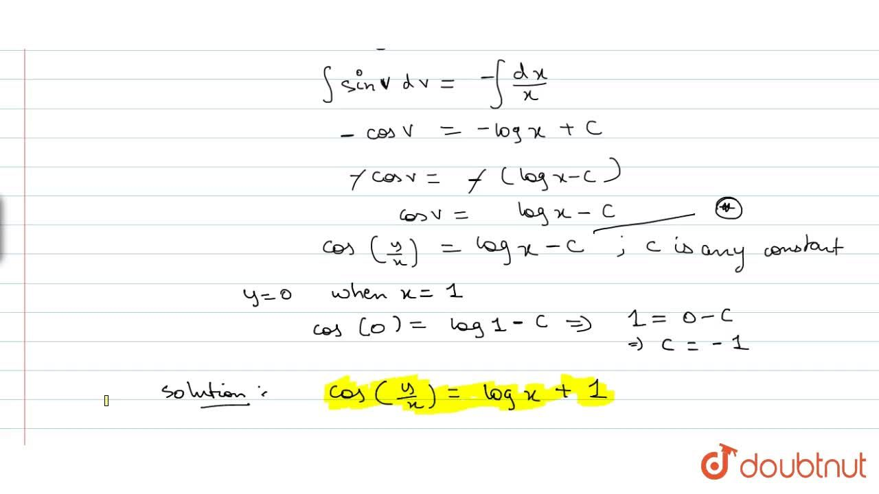 Solution for Solve the differential equation (dy),(dx)-y,x+cos