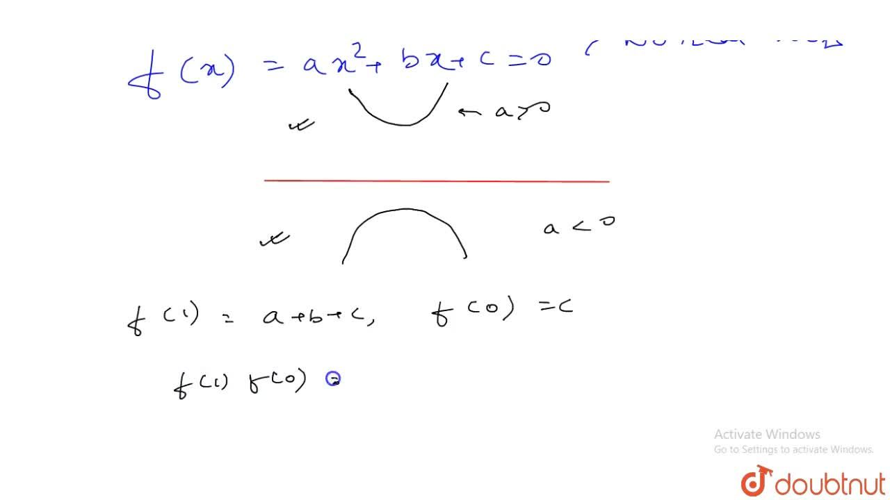 If the equation f(x)=ax^2+bx+c=0  has no real root, then (a+b+c)c is (A) =0 (B) gt0 (C) lt0 (D) not real