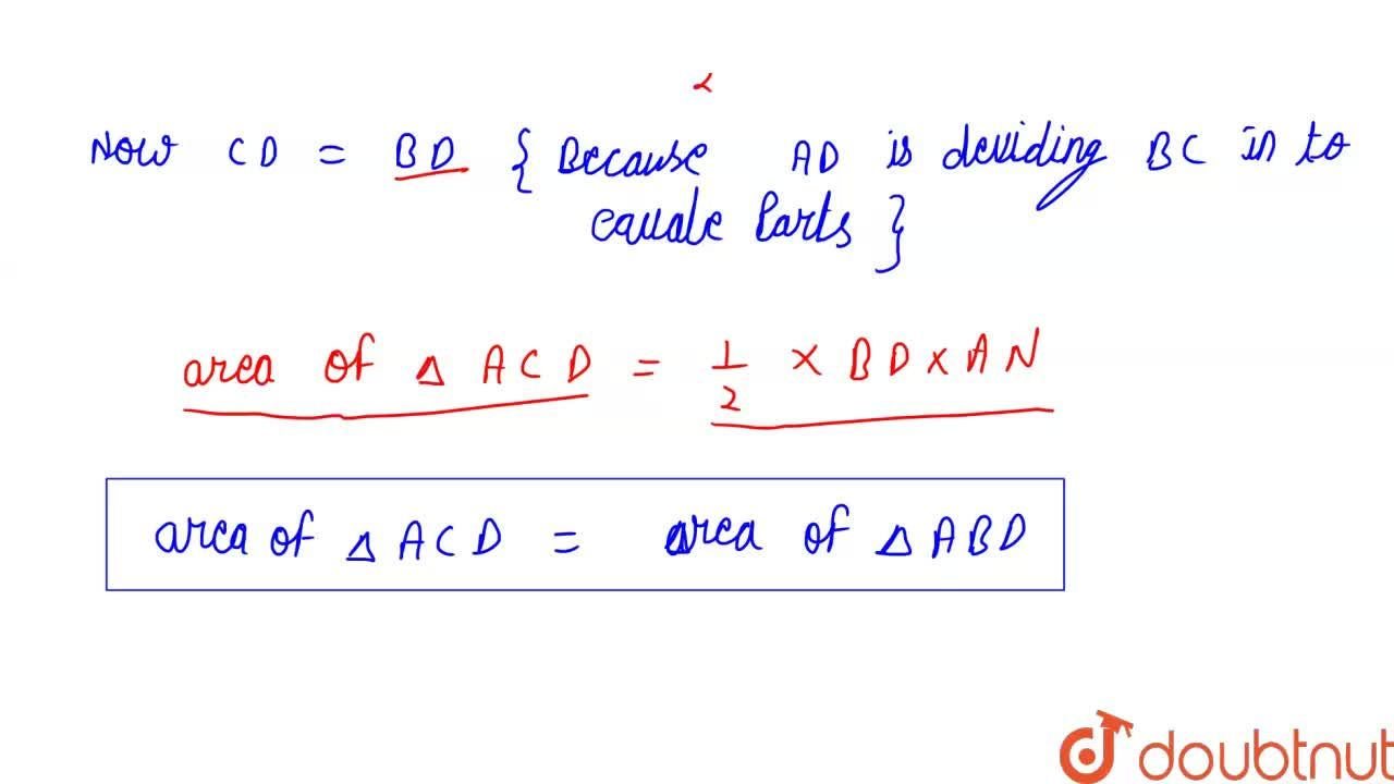 Show that a median of a  triangle divides it into two triangles of equal areas.