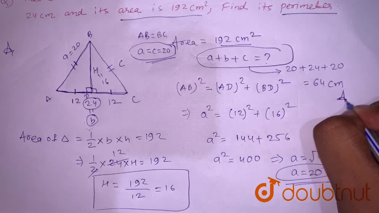 Solution for The base of an  isosceles triangle  measures 24  c