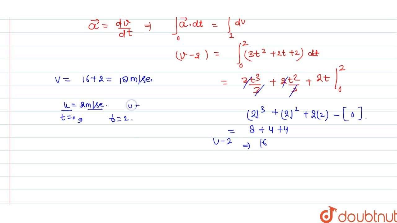 Solution for The acceleration a in ms^-2 of a particle is giv