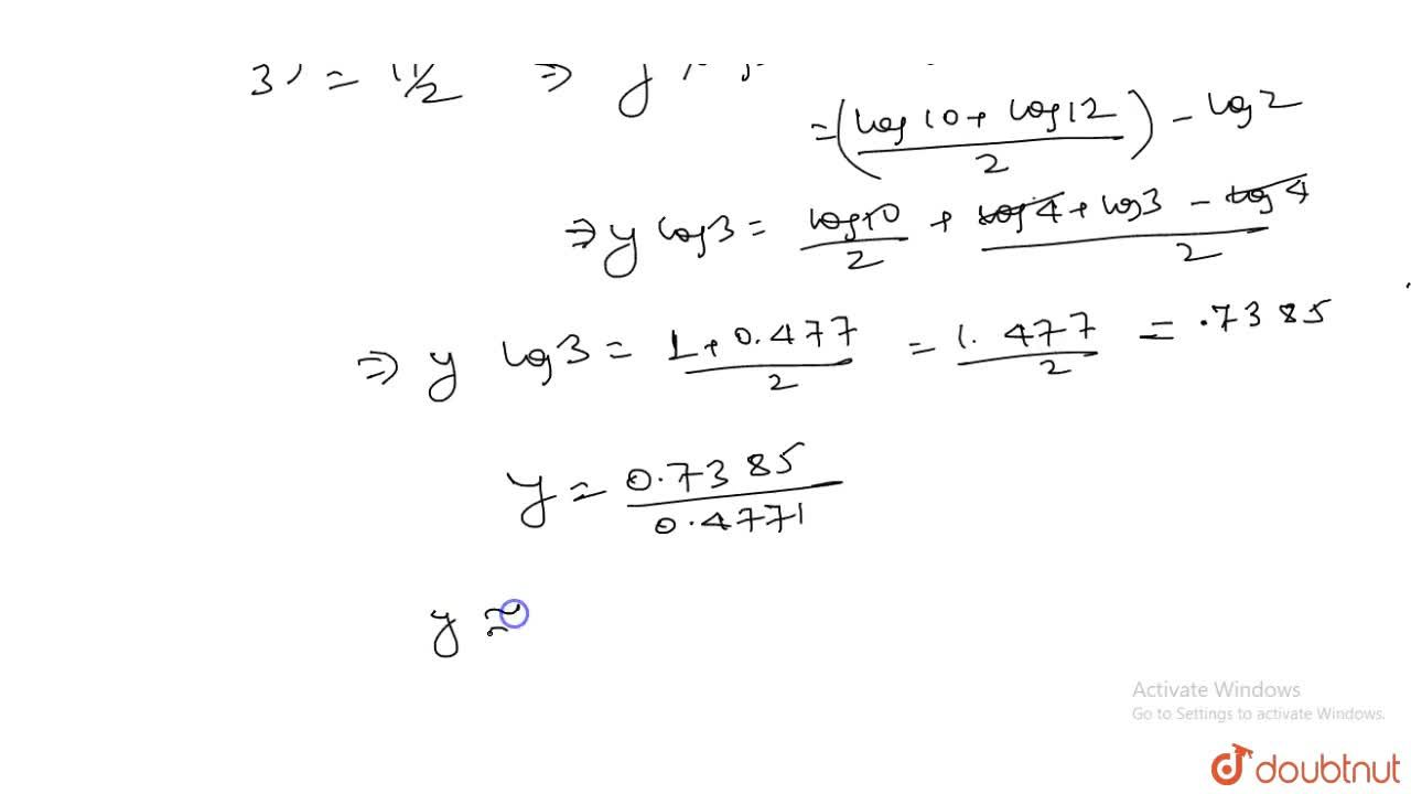 Solve the equation |x + 2| = |x - 13|. (ii) Hence solve the equation |3^y + 2| = |3^y - 13|, giving your answer correct to 3 significant figures.