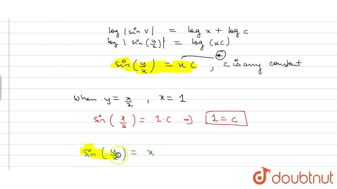 Solution for Solve the differential equation x(dy),(dx)-y=xtan