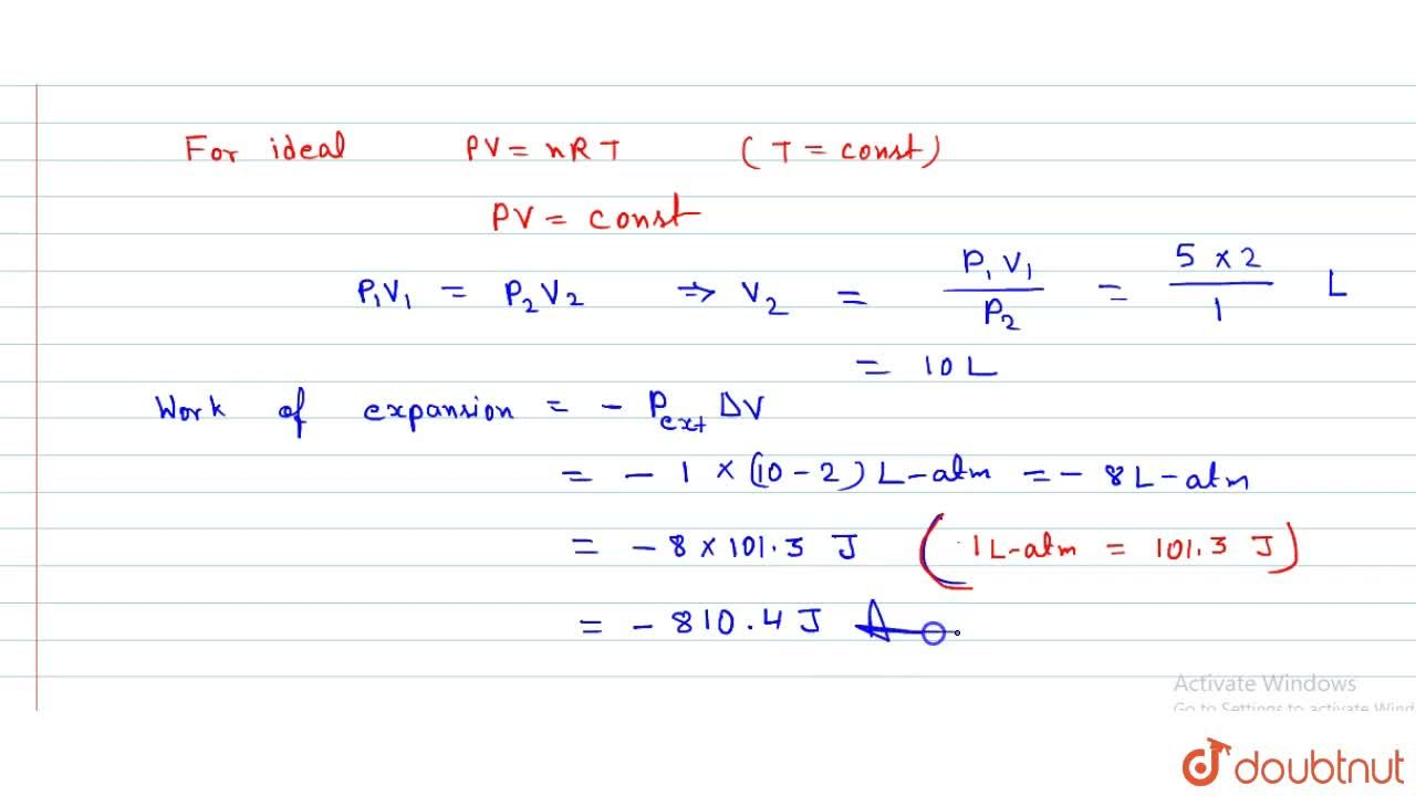 Solution for Two liters of N_(2) at 0^(@)C and 5 atm pres
