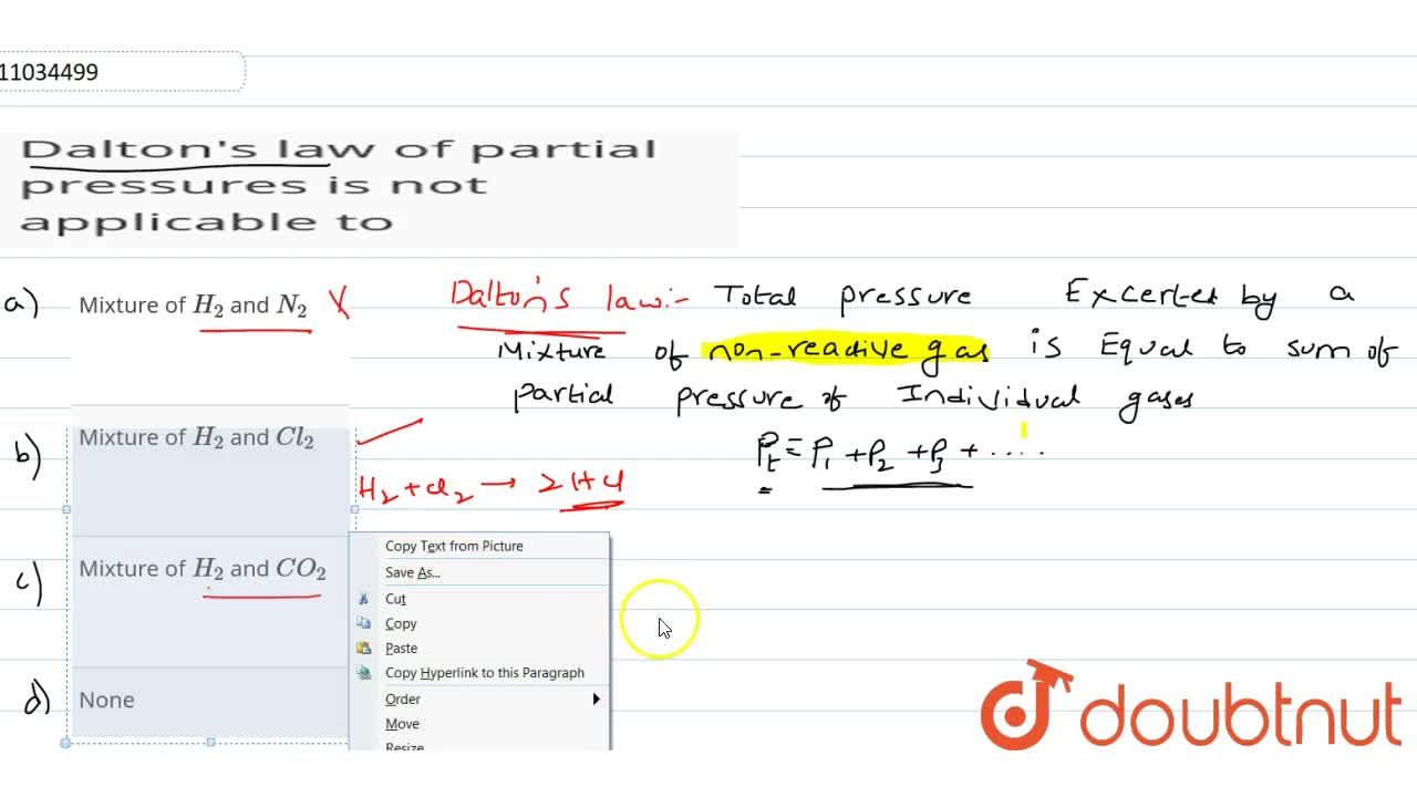 Solution for Dalton's law of partial pressures is not applicabl