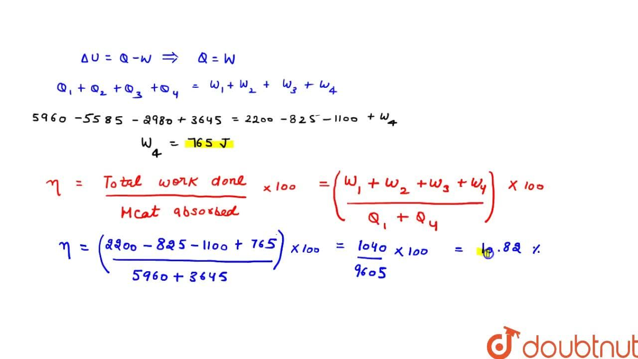 Solution for An ideal gas is taken through a cyclic thermodynam