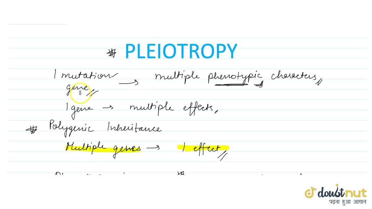 Solution for WHAT IS PLEIOTROPY?