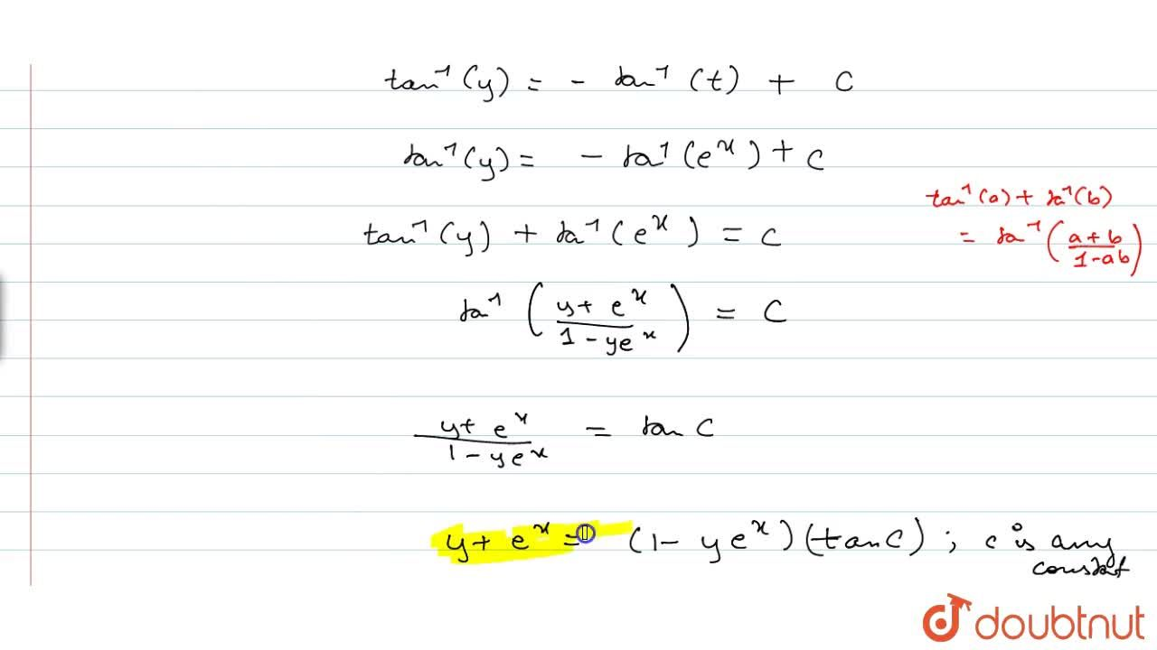 Solution for Solve the following differential equation: (1+e^(