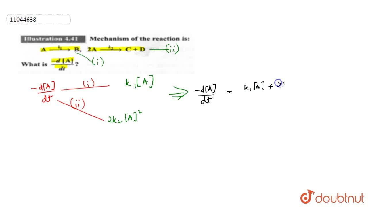 Solution for Mechanism of the reaction is: <br>A overset(k_(1)
