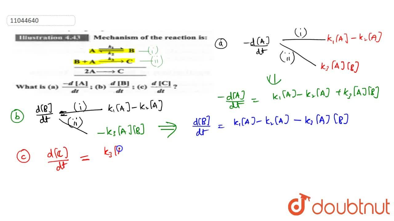 Solution for Mechanism of the reaction is:  <br>  A underset(k