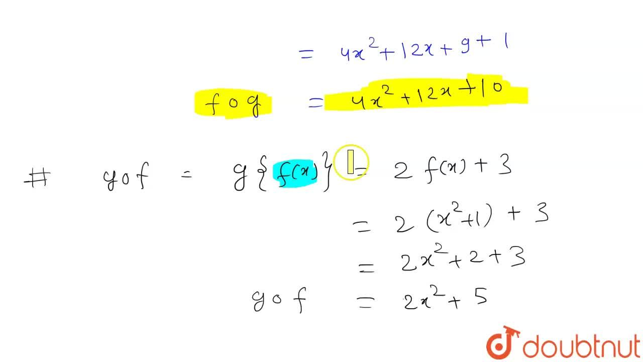 """Solution for यदि f : R to R """" तथा """" g : R to R  इस प्रकार परि"""