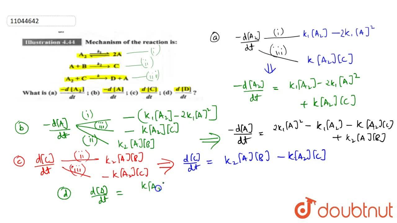 Solution for Mechanism of the reaction is: <br> A_(2) overset(