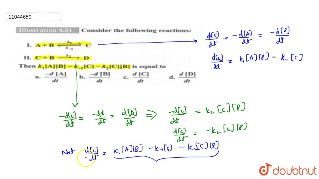 Solution for Conisder the following reactions: <br> I. A+B und