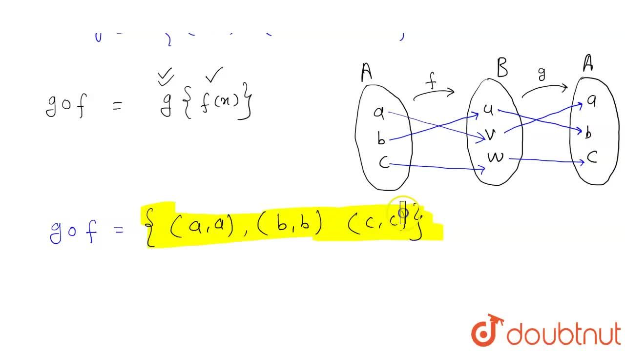 Solution for यदि A = {a, b, c}, B = {u, v, w} यदि f:A to B  त