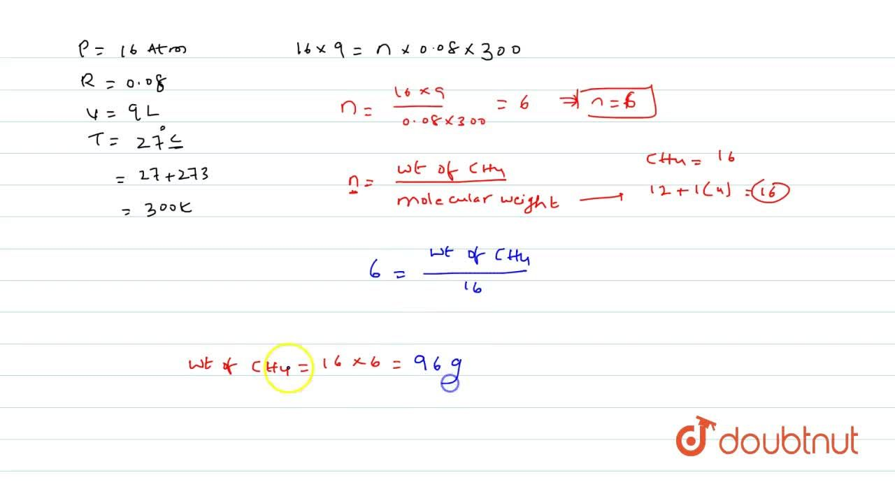 Solution for Calculate the weight of methane in a 9 L cylinde