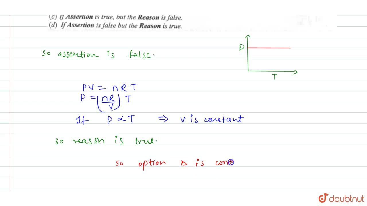 Solution for Straight line on (p - T) graph for an ideal gas re