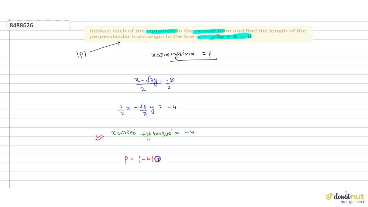 Solution for Reduce each of the equations to the normal form an
