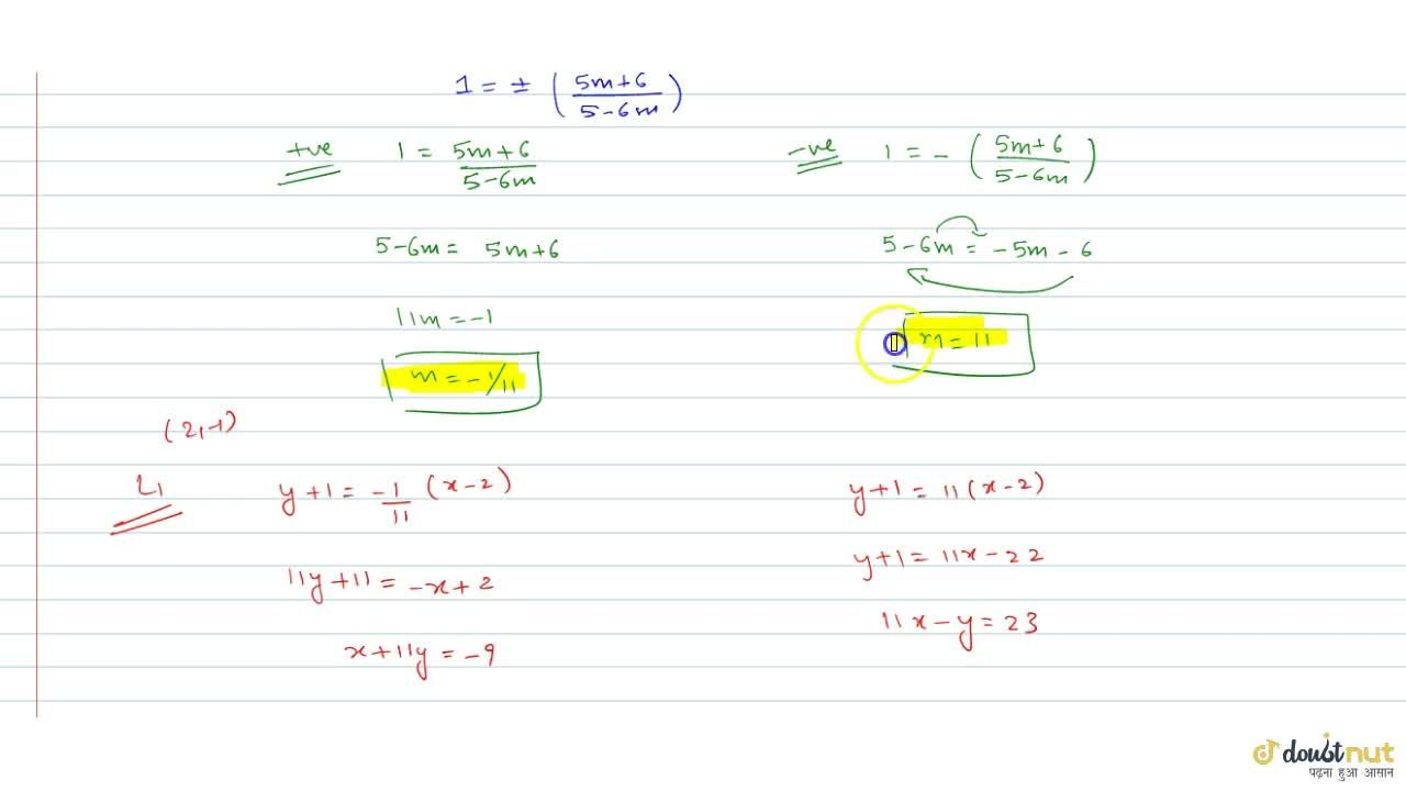 Solution for Find the equation of the straight lines passing th
