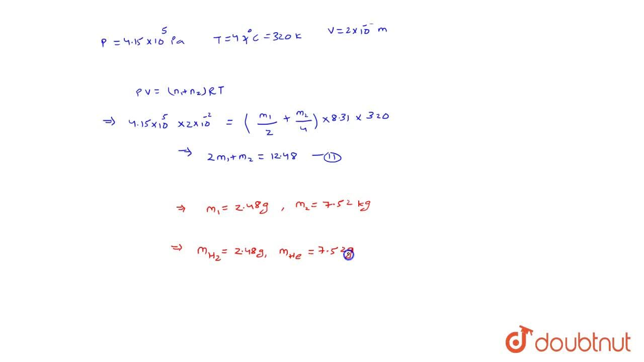 Solution for A vessel of volume 2 xx 10^(-2) m^(3) contains a